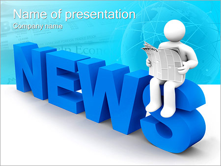 Reading Newspaper PowerPoint Template  Backgrounds ID 0000002699