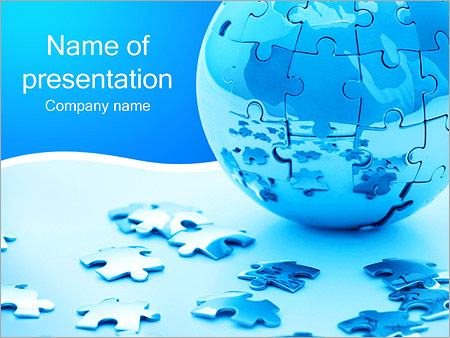 Blue Earth Puzzle PowerPoint Template, Backgrounds  Google Slides