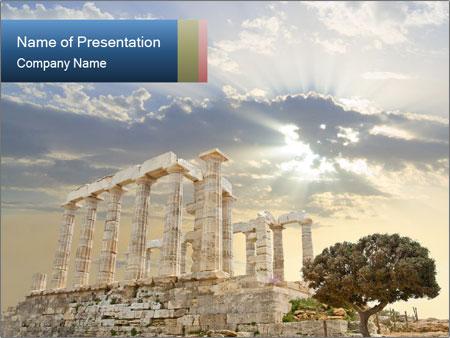 Famous Greek Poseidon Temple PowerPoint Template, Backgrounds