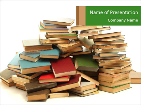 Pile of Old Books PowerPoint Template, Backgrounds  Google Slides