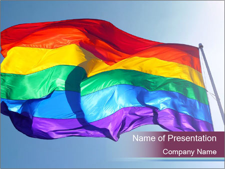 Rainbow Flag PowerPoint Template  Backgrounds ID 0000033122 - rainbow powerpoint