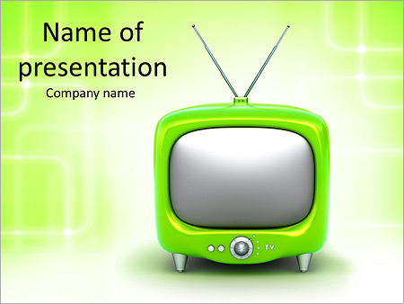 Green TV PowerPoint Template  Backgrounds ID 0000006428