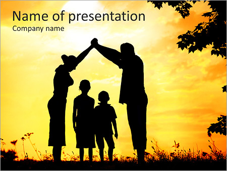 Family With Children PowerPoint Template  Backgrounds ID 0000006971