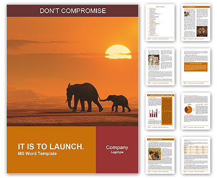Elephants In Wild Nature Word Template  Design ID 0000007411