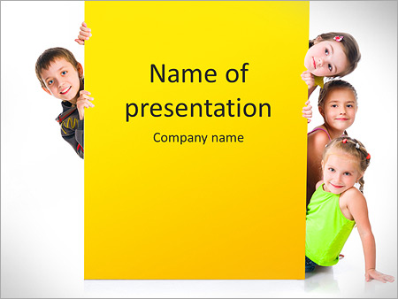 Group Of Children PowerPoint Template  Backgrounds ID 0000007494