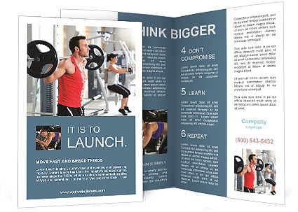 Group with dumbbell weight training equipment on sport gym Brochure