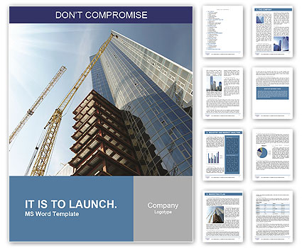 Building of a skyscraper with two tower cranes Word Template