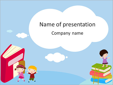 Drawn children and books PowerPoint Template, Backgrounds  Google - powerpoint books