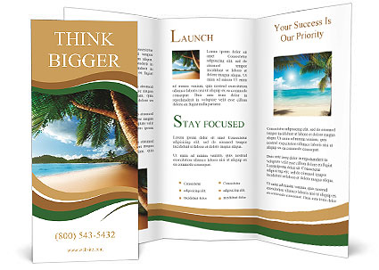 Dream beach vacation Brochure Template  Design ID 0000008705 - Vacation Brochure Template