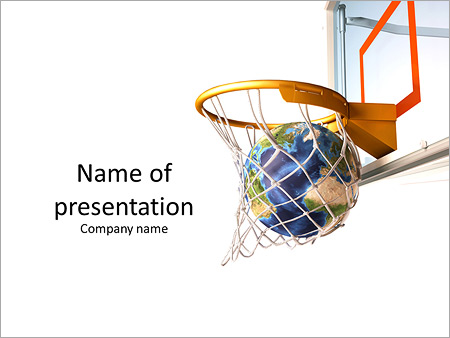 Planet in the basketball ring as a symbol of success PowerPoint - basketball powerpoint template