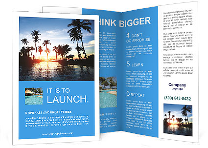 Beautiful sunset at a beach resort in the tropics Brochure Template
