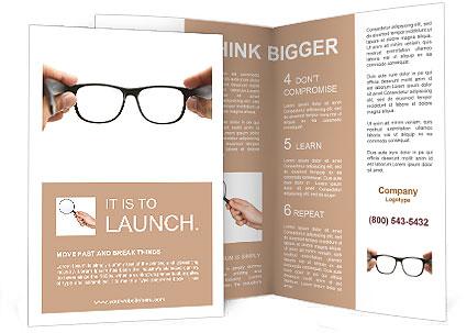 Human hands holding retro style eyeglasses Brochure Template - retro brochure template