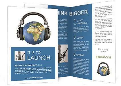 World music 3D render of planet Earth with headphones, Earth map - music brochure