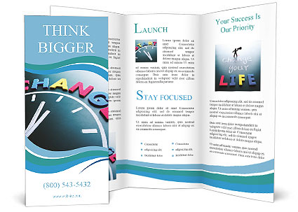 Time to change concept, color word and clock on blackboard Brochure - brochure word templates