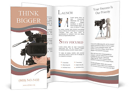 Video camera operator working with his professional equipment - video brochure template