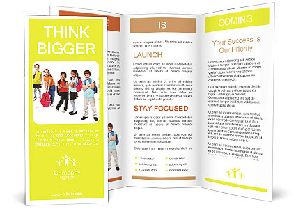School kids group, over white Brochure Template  Design ID - blank brochure templates for kids