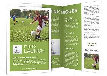 Boy kicking football on the sports field Brochure Template  Design