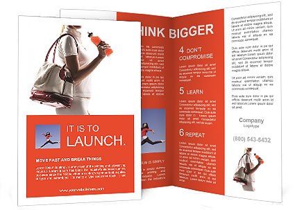 Athletic woman with a sports bag and sports drink Brochure Template - sports brochure