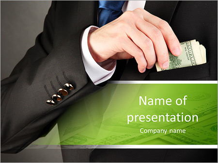 Business man hiding money in pocket on black background PowerPoint - money background for powerpoint