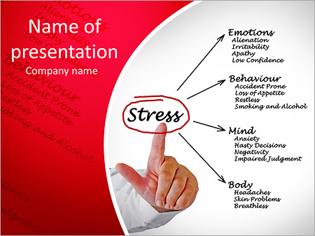 Diagram of stress consequences PowerPoint Template, Backgrounds