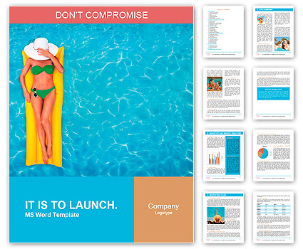 Relaxing in a pool Word Template  Design ID 0000009706