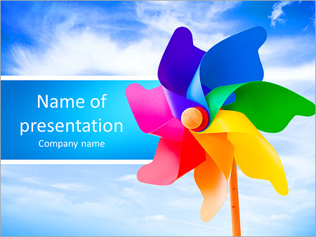 Color pinwheel against summer sky PowerPoint Template, Backgrounds