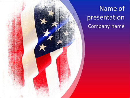 Flag of the USA (United States of America) PowerPoint Template