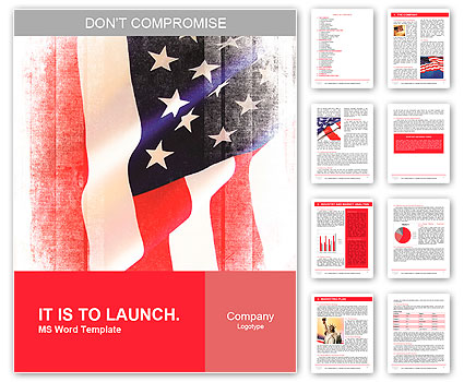 Flag of the USA (United States of America) Word Template  Design ID - word flag