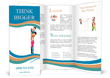 Beautiful fun family behind a white blank Brochure Template  Design