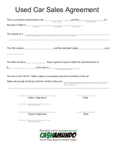 used car sales forms