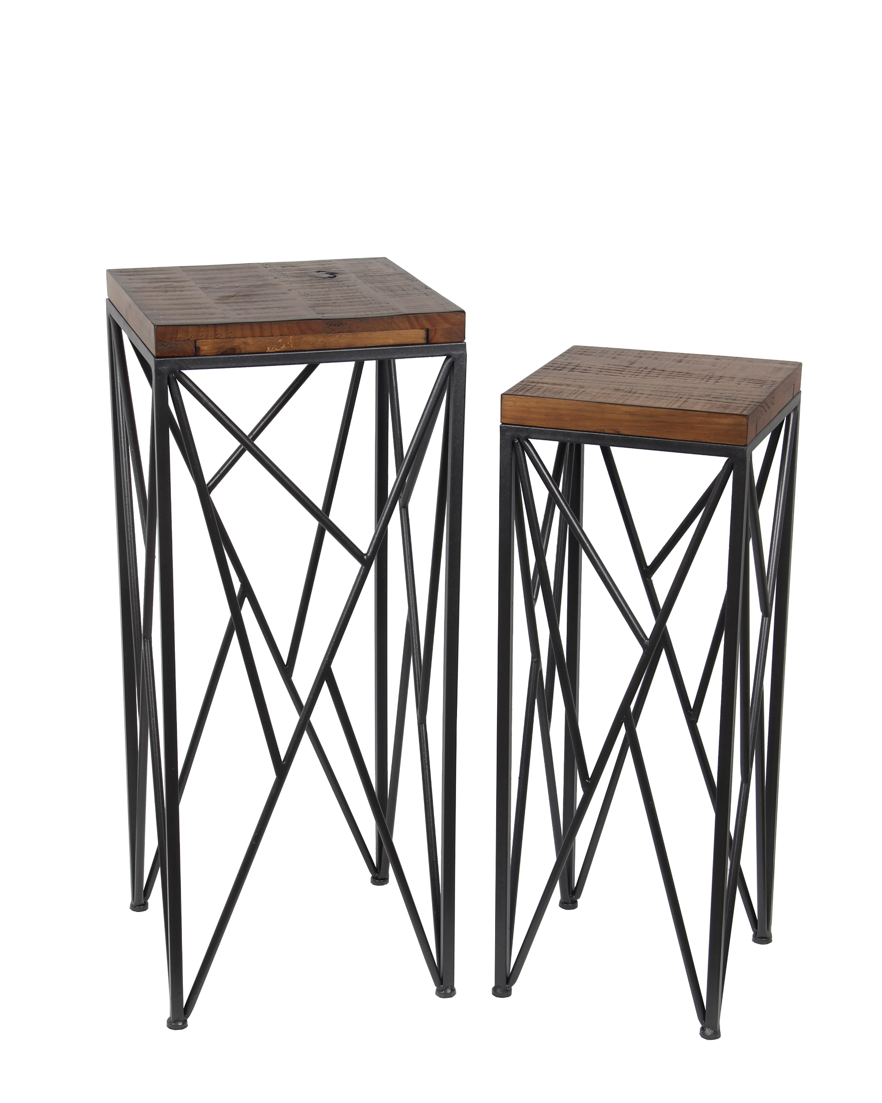 Wood And Metal Plant Stand Pair Of Nesting Medium Brown Wood And Metal Plant Stands