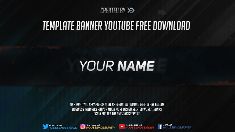2D Template Youtube Banner Template in Photoshop - By Houssem - youtube banner template photoshop