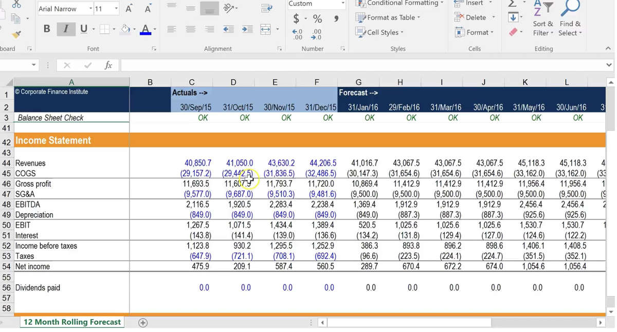 Monthly Cash Flow Modeling - FPA Training Course