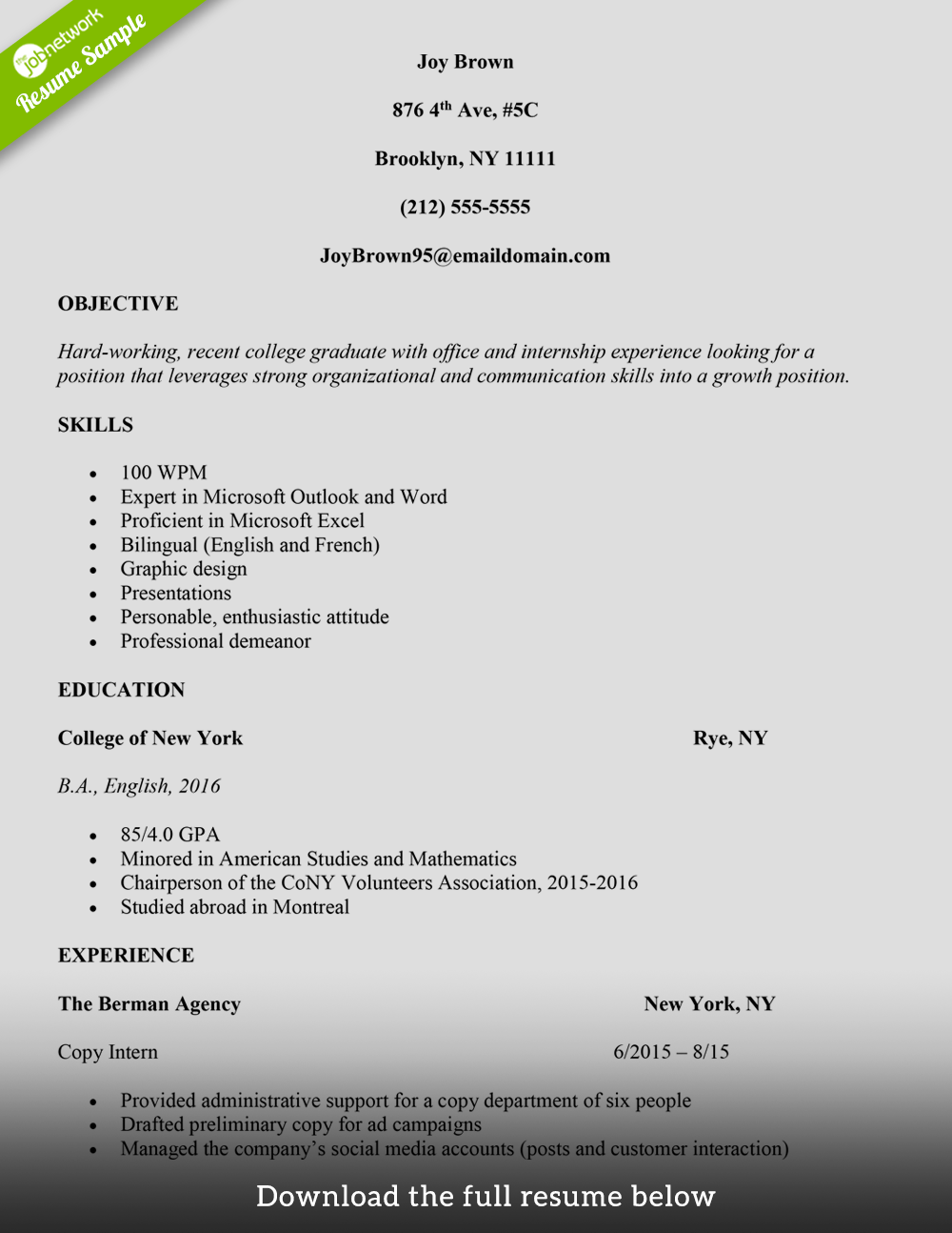 how to mention internship in resume