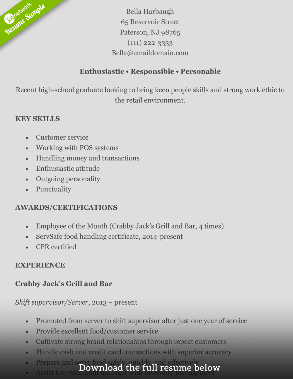 high school resume sample retail store