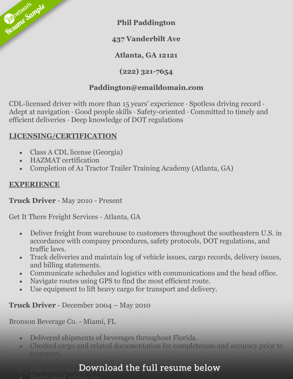 cdl resume with no experience