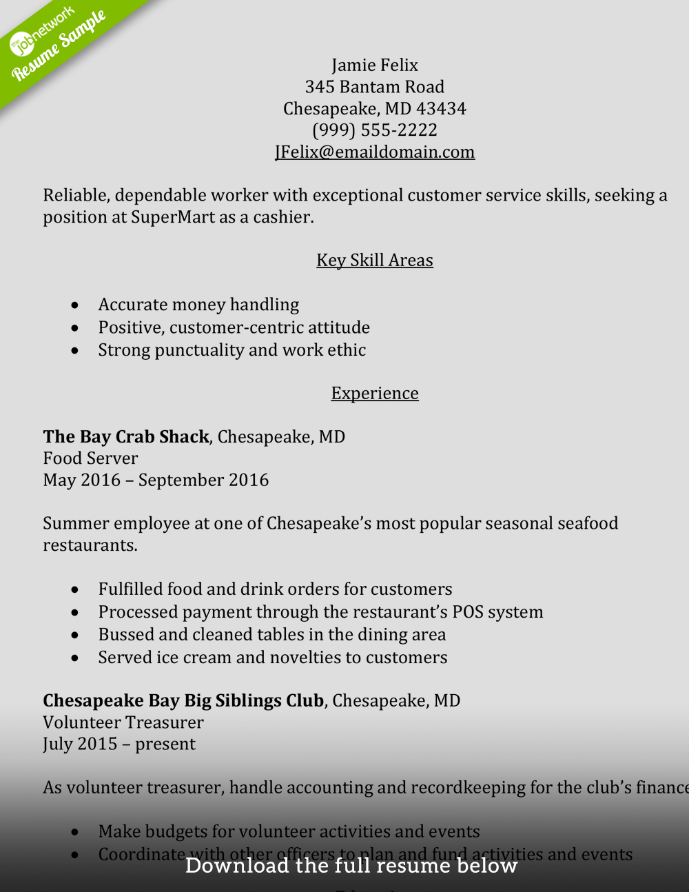 resume samples of cashier at store
