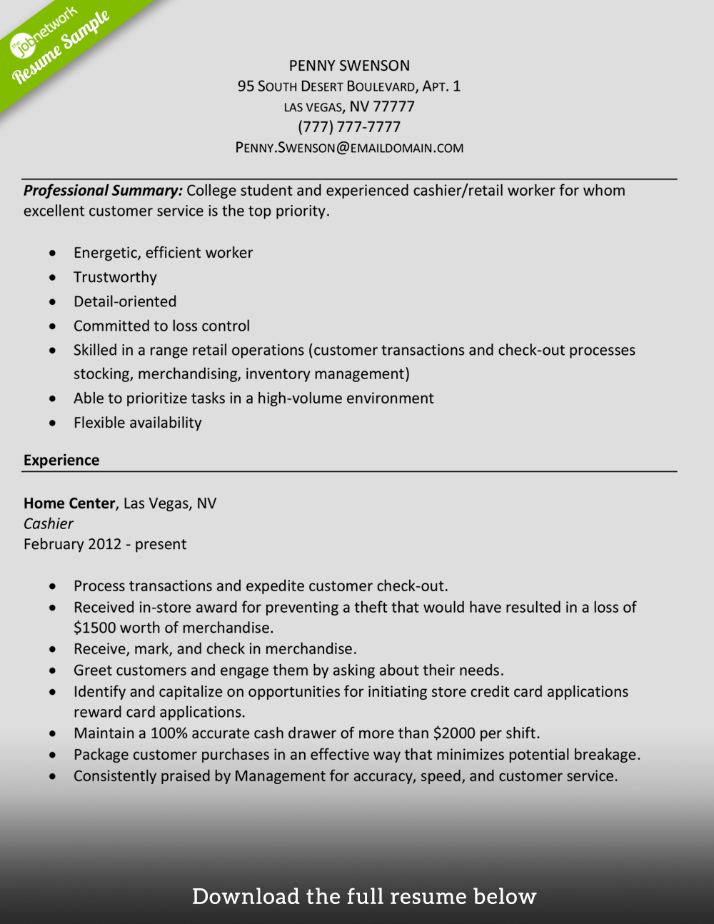 How To Write A Chronological Resume With Sample Resume 28 Of A Cashier Resume Grocery Cashier Job Duties