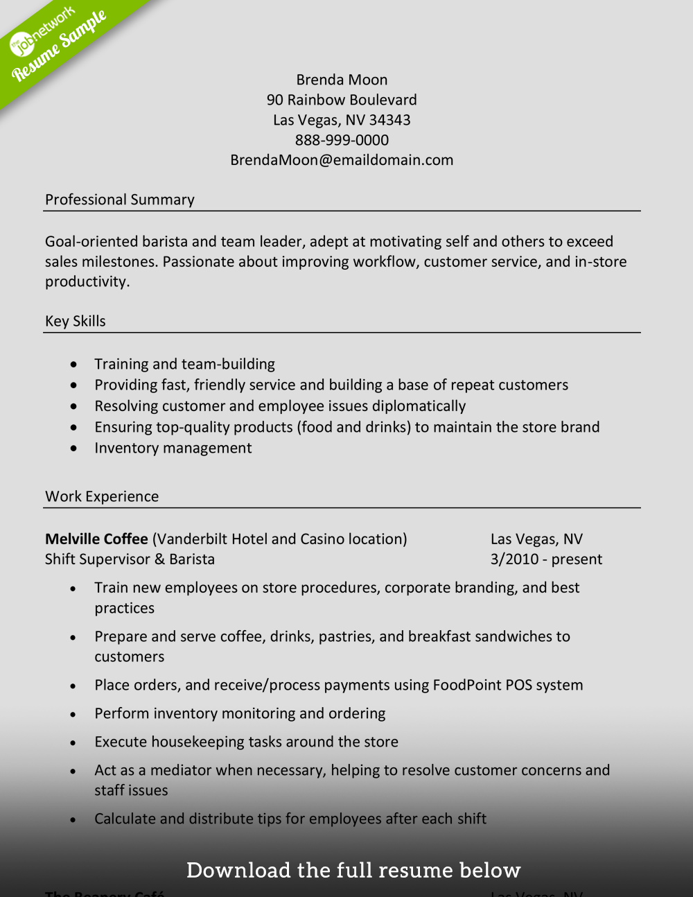 barista resume objective sample