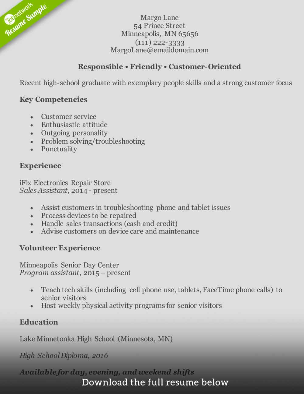 copies of resumes for customer service