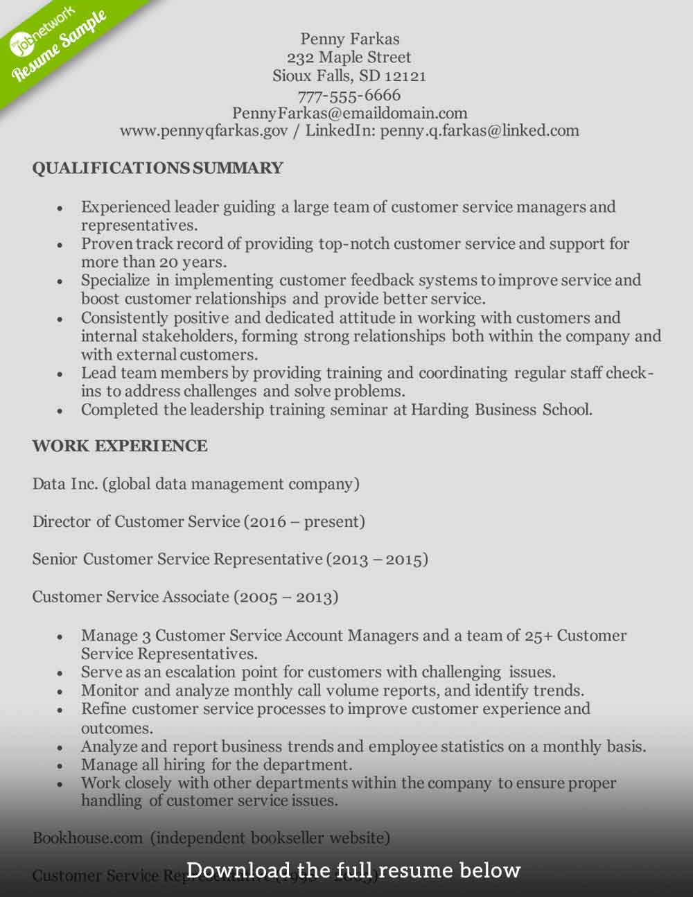 qualifications for customer service representative resume