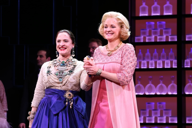 Patti LuPone and Christine Ebersole take a bow on opening night of War Paint, directed by Michael Greif, at the Nederlander Theatre.