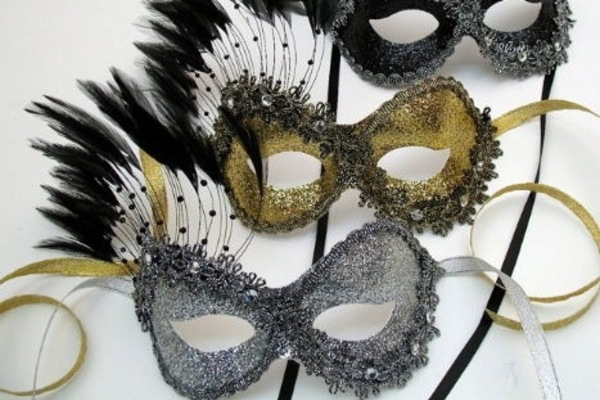 Chic black silver gold mask