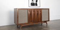This beautiful record player console comes with whiskey ...