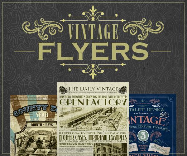 Vintage Flyer Template Bundle Vintalife, the Online Vintage Mega Store