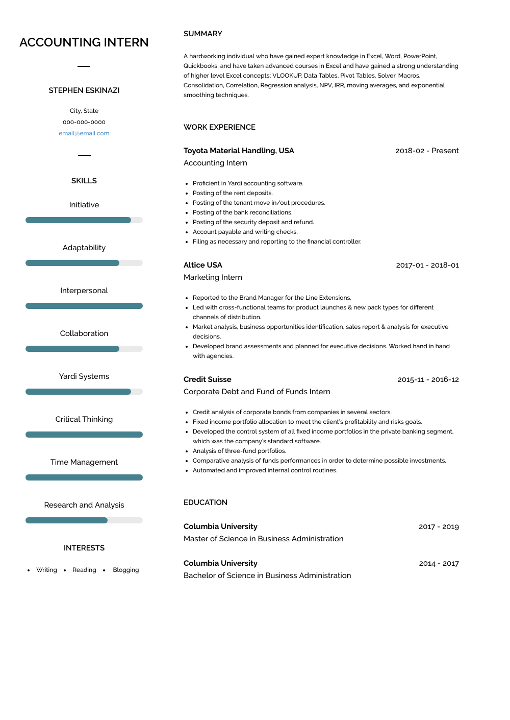 model cv account internship