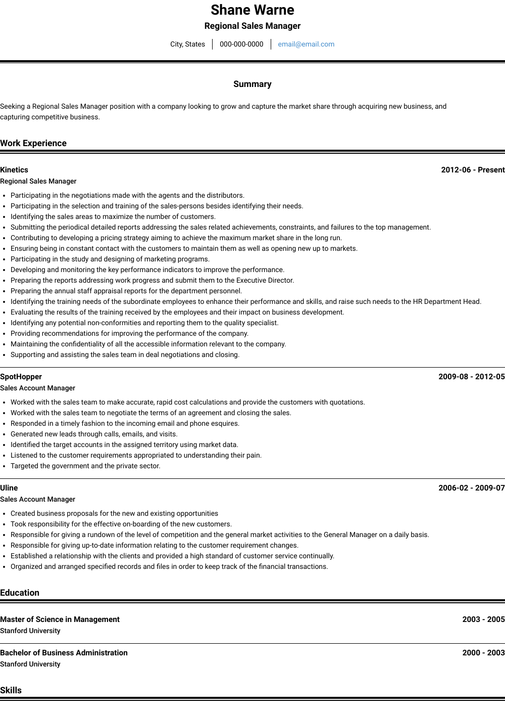 sample resume regional sales manager pharma