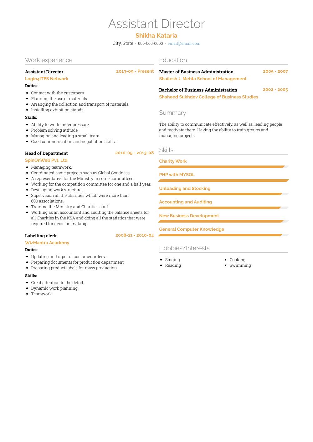 resume model for assistant director