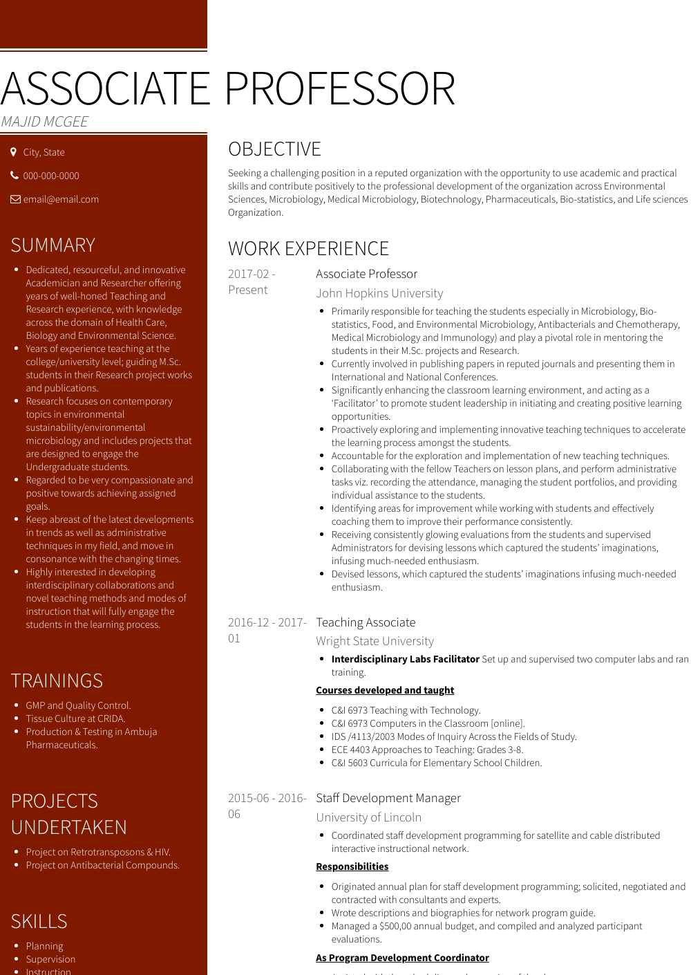 associate professor resume sample