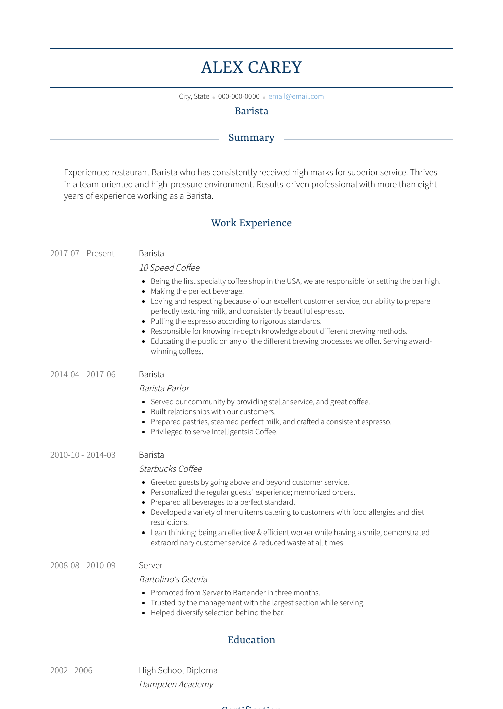 free barista resume template